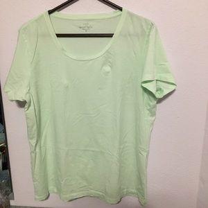 J Crew Factory XL Garment Died mint Tee